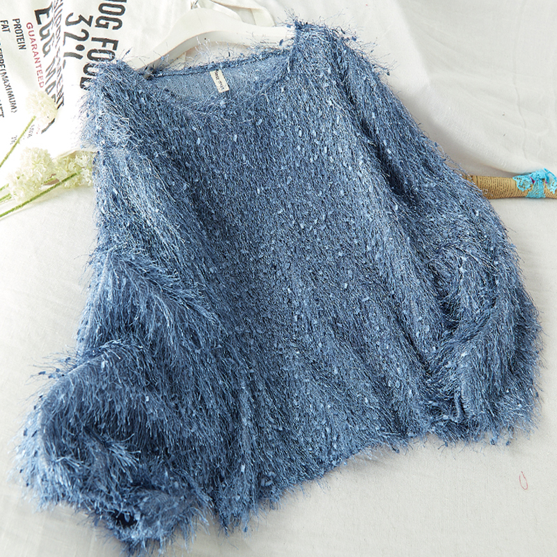 2020 autumn winter sweater women casual pullovers puff sleeve o neck with tassel knitted solid loose pull jumpers truien dames(China)