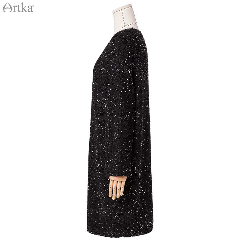 Artka 2019 秋冬新女性のセーターファッションスパンコールニットロングセーター O ネックルーズプルオーバーのセーター女性 LB10099Q