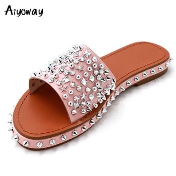 Aiyoway Women's Flat Sandals Rivets Slipper Flats Gladiator Sandal Open Toe Summer Shoe Women Sexy Party Beach Female Footwear