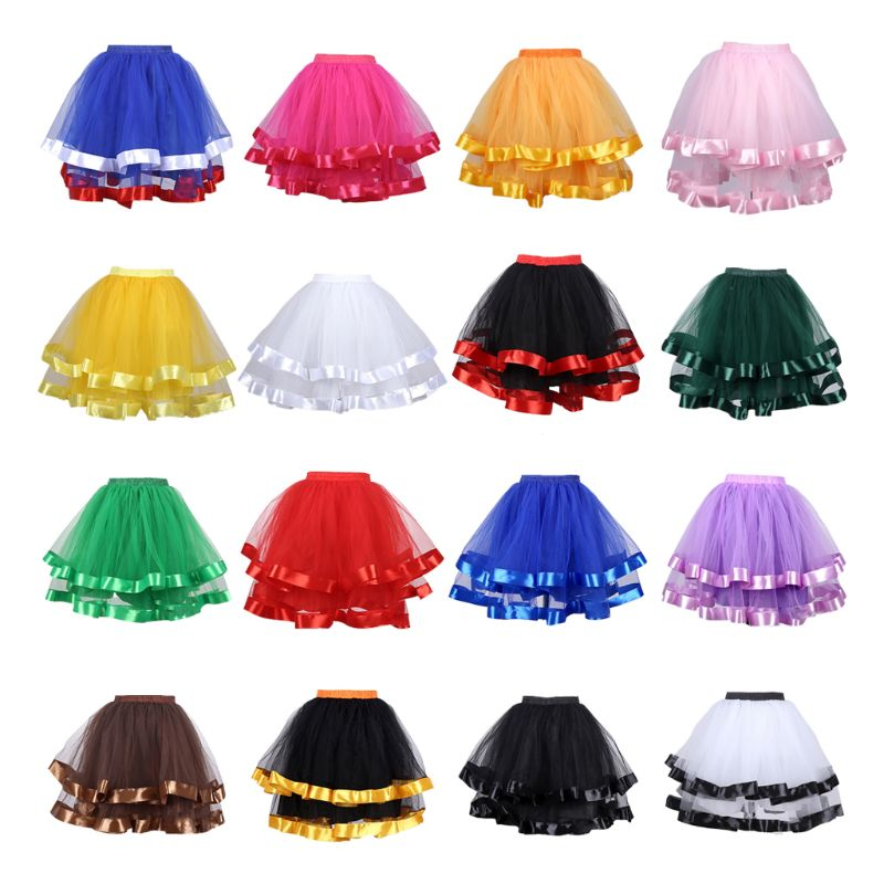 2-layered Streamer Pleated Skirt Bride Petticoats No Hoop Women Ballet Skirts Mesh Girls TUTU Pettiskirt