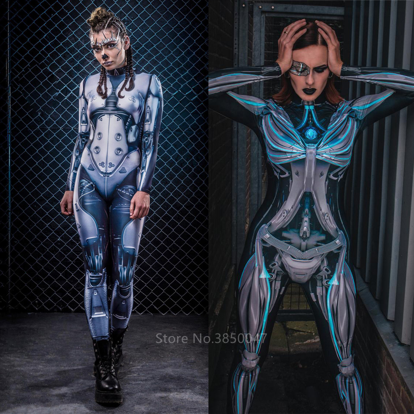 Adult Halloween Costumes Women Sexy Gothic Jumpsuit Steampunk Science Fiction Clothing Female Blue Robot Warrior Cosplay Costume