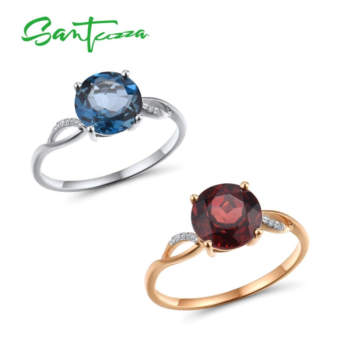 VISTOSO Gold Ring For Women Genuine 14K Gold Ring Sparkling Diamond London Blue Topaz Garnet Wedding Anniversary Fine Jewelry