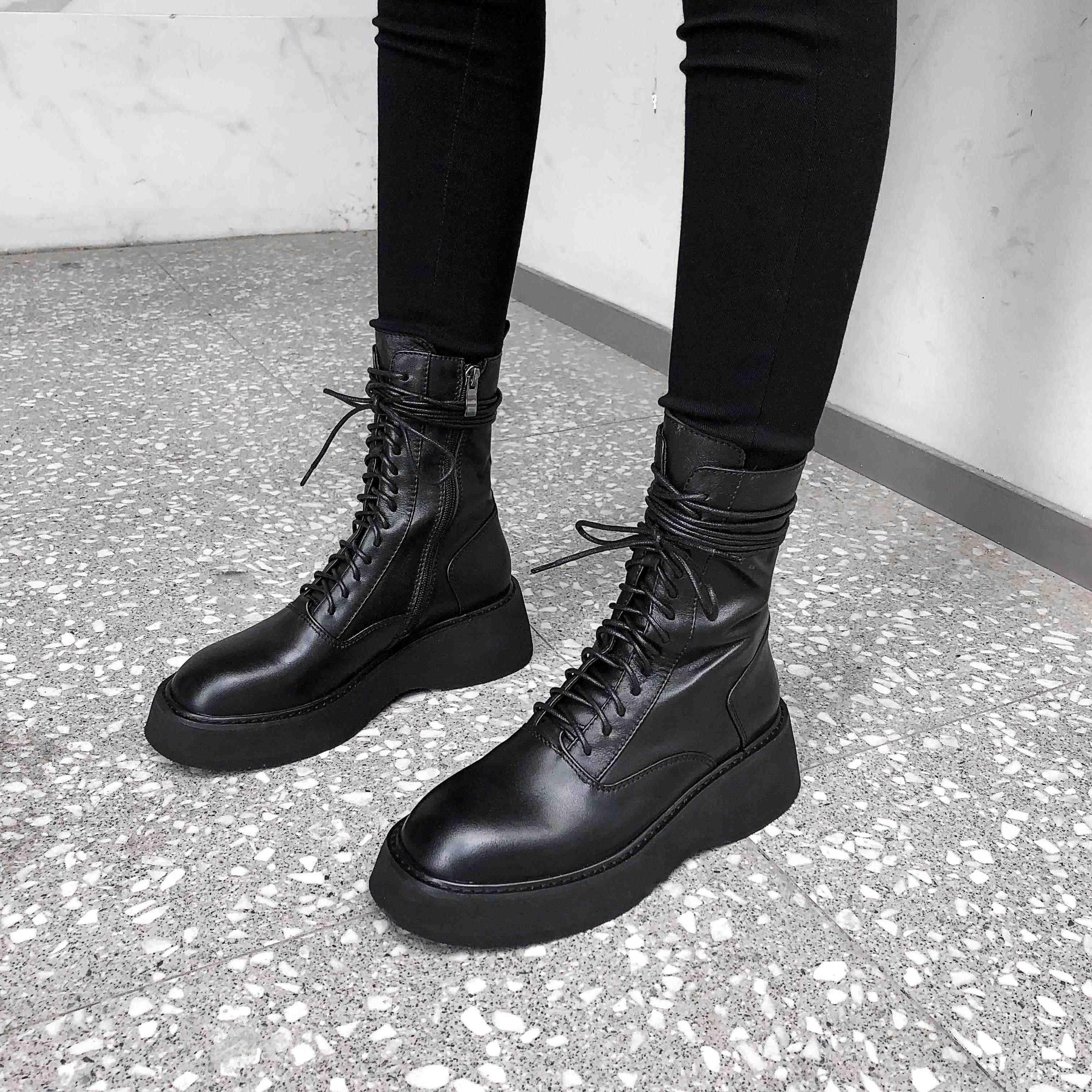 Krazing Pot eenvoudige stijl solide classic basic koe lederen laarzen ronde neus hoge hakken winter houden vrouwen lace up mid kuit laarzen L15