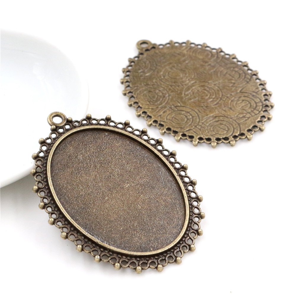 New Fashion  5pcs 30x40mm Inner Size Antique Bronze Pierced Style Cabochon Base Setting Charms Pendant (B2-03)