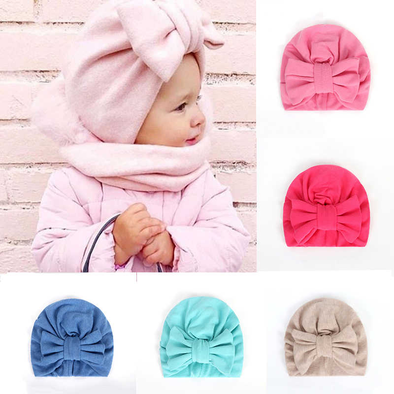BalleenShiny Warm Baby Hats For Boys&Girls Infant Lovely Bowknot Hats Baby Bonnet Beanie Turban Head Accessories Kids Gifts