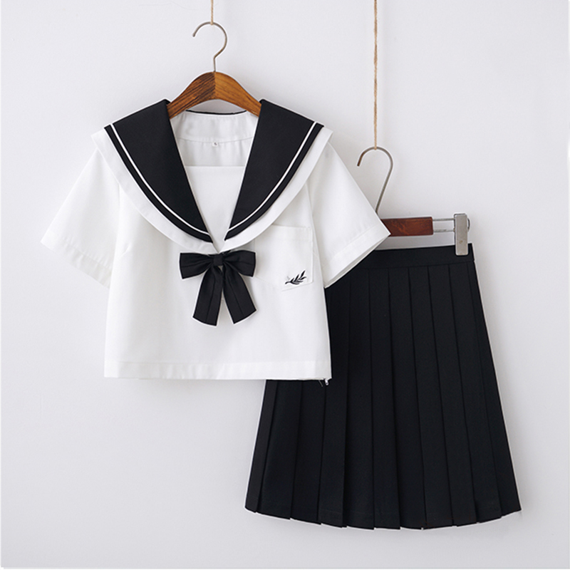 Bowknot Japan Sailor Uniform Navy Collar Shirt Pleated Skirt Sets Girls Stage Performance School Uniforms