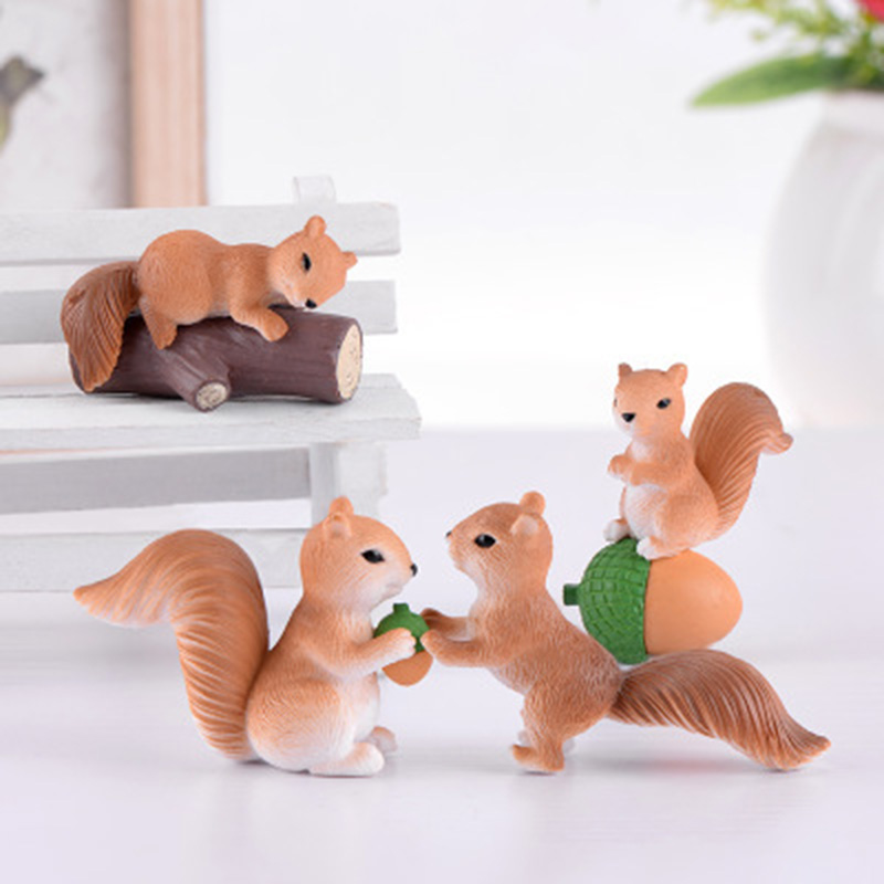 Micro Landscape Cute Squirrel Miniature Figurines Fairy Garden Ornaments DIY Craft Decoration For Kids Children Room Gift 1PC