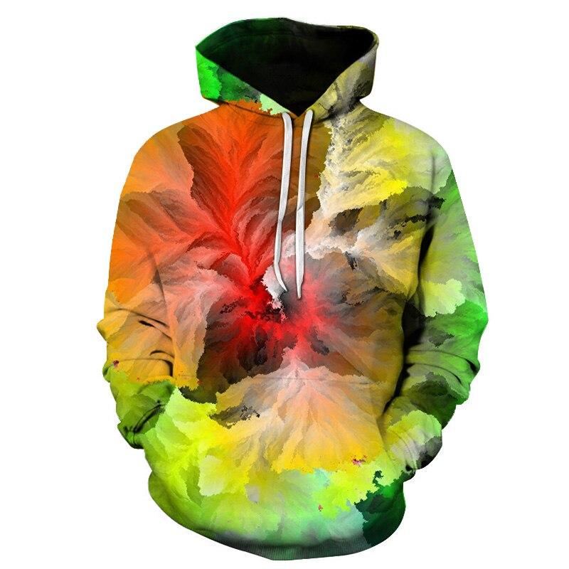 Abstract Art Smoke 3D Digital Printing Hooded Sweatshirt 2019 Spring And Autumn New Men's Casual Loose Fashion Hoodie Shirt 6XL