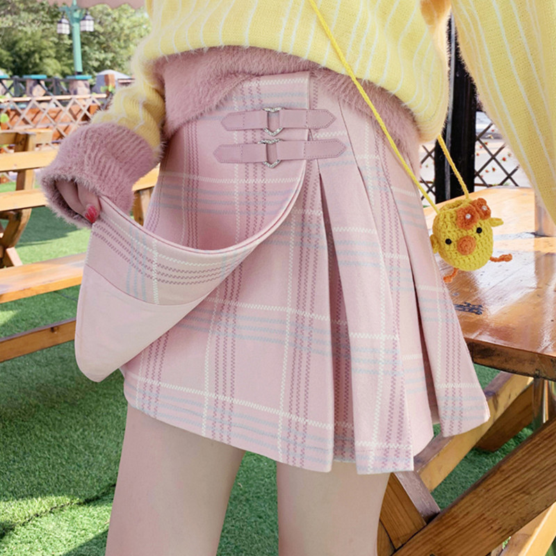Women A-line Plaid Woolen Pleated Mini Shorts Skirt Preppy Cute Japan Autumn Kawaii Heart Button Pink Lovely Sweet Winter Skirts