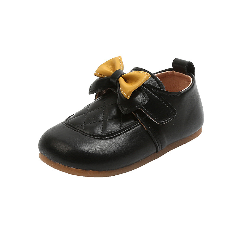 Туфли для девочек весна 2021 Новая мягкая подошва для девочек с бантом подходящая ко всему кожаная обувь нескользящие модные детские туфли в горошек туфли для принцесс для девочек
