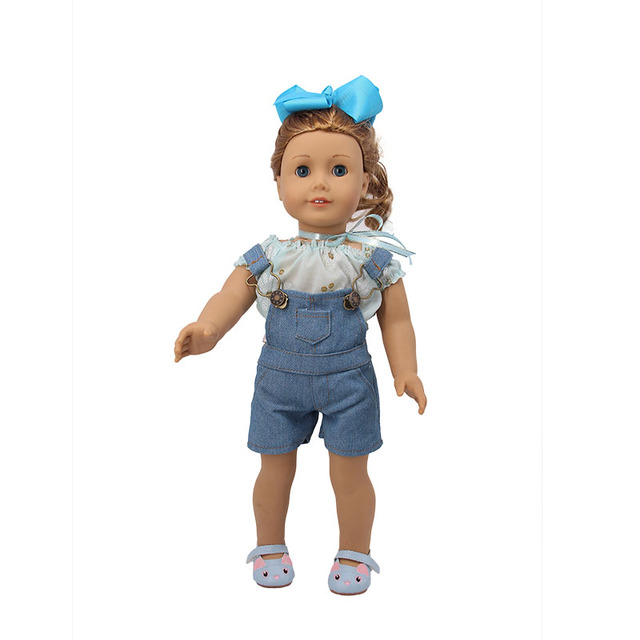 Doll Clothes 1Pcs Jeans Suspenders Adjustable Straps&T-shirt For 18 Inch American Doll&43 Cm Baby Doll Our Generation Girl`s Toy   american doll