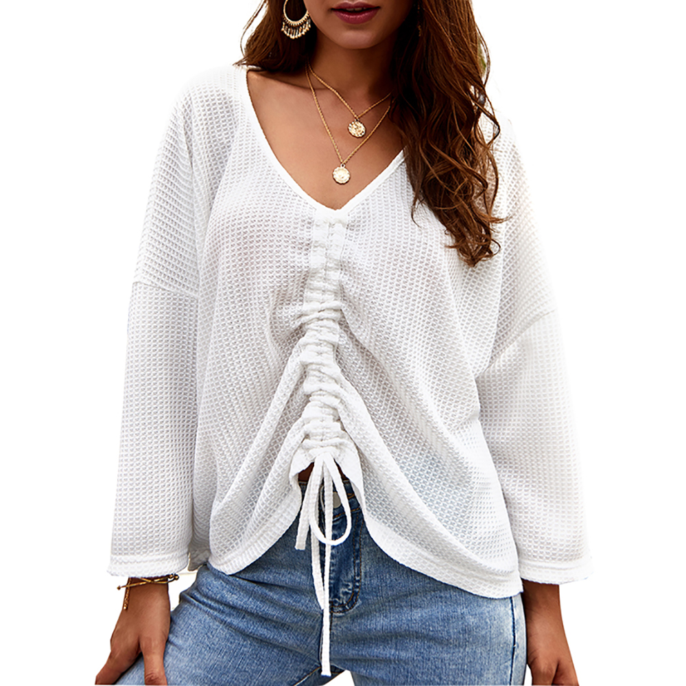 Women's V Neck Adjustable Drawstring Tie Front Knit Long Sleeve Ruched Sweater Tops Pull Size Adjustable Front Panel New O28
