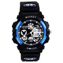 Disney дети% 27 часы мальчик электронные часы водонепроницаемый мальчик светящиеся спортивные Микки студент часы