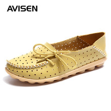 Women Casual Genuine Leather Shoes Woman Flats Hollow Out Loafers Slip On Sneakers Women Ballet Flat Loafers Zapatos De Mujer стоимость