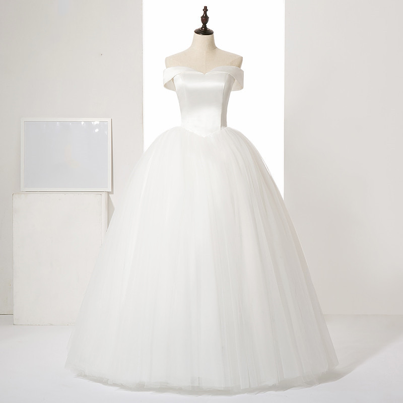 New Sexy satin with silky organza wedding dress Boat neck style Vestido de noiva  ball gown