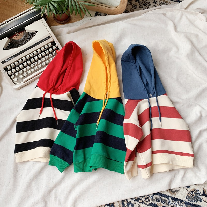 Kids Hoodies Sweatshirts Baby-Boys Children Pullovers Autumn New Casual Patchwork Striped