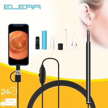 Czyszczenie uszu endoskop do usuwania woskowiny HD wizualna łopatka do uszu Mini kamera 3 in1 USB Android PC narzędzie do pobierania uszu opieka zdrowotna nos tanie i dobre opinie ELERA CN (pochodzenie) Endoscope Do pielęgnacji uszu Metal Type-C Android Windows 3-in-1 interface 5 5mm 640*480 70°