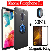 3-in-1 Glass + Magnetic Silicone Case for Xiaomi-Pocophone-F1 Soft phone Case Full Cover xiaomi pocophone f1 magnetic ring Case for xiaomi pocophone f1 case slim skin matte cover for xiaomi f1 pocophone f1 case xiomi hard frosted cover xiaomi poco f1 case