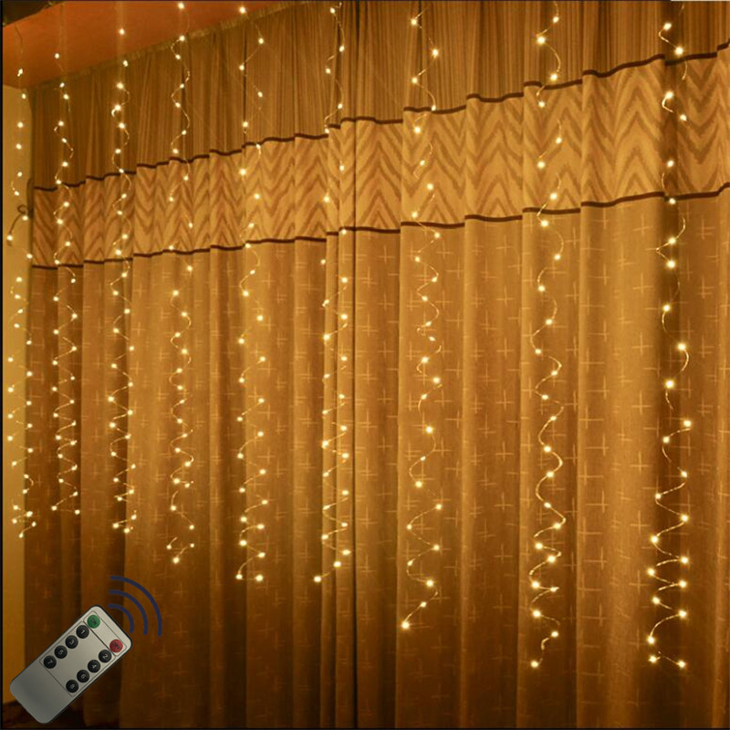 3*3M 300LED Battery Power Remote Control Curtain Fairy Lights Christmas Garland String Lights Party Garden Home Wedding Decor