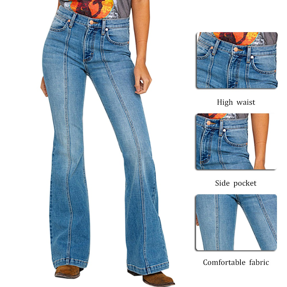 Muyogrt Flared Jeans For Women High Waist Stretch Horn Jeans Women Patchwork Slim Long Denim Pants Solid Jeans 80s Vintage Jeans
