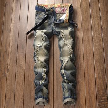 2021 nowe letnie męskie jeansy Retro męskie porwane jeansy męskie pranie proste nogawki spray-on process męskie jeansy zmieniające kolor tanie i dobre opinie NoEnName_Null CN (pochodzenie) na zamek błyskawiczny Na wiosnę i lato Na zakupy Młodzieńcza witalność Porysowane Patchwork