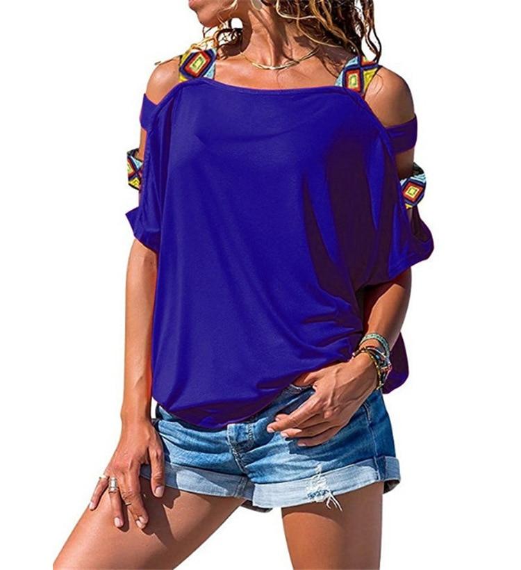 Harajuku Tshirt Women Summer Short Sleeve Sexy Hollow Out Shoulder T Shirt Women Plus Size Casual Tees Tops Streetwear WS9782X