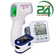 Tonometer Automatic Blood Pressure Monitor & Finger Pulse Oximeter Digital oximetro Blood Oxygen & Digital Forehead Thermometer
