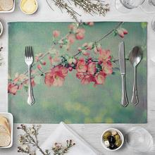1Pc Lavender Flower Non-slip Heat Insulation Placemat Kitchen Table Mat Easy clean dry fast non-toxic safe wear-resistant