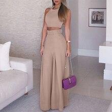 Women Solid Suits Sleeveless Halter Cropped Tops Wide Leg High Waist Straight Pants 2 Piece Set No belt Summer Streetwear 2021