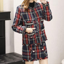 Anzüge Frauen Runway Designer Elegante Büro Damen Formale Tweed Wolle Plaid Blazer Jacke Mini Rock 2 Stück Set 2020 Winter(China)