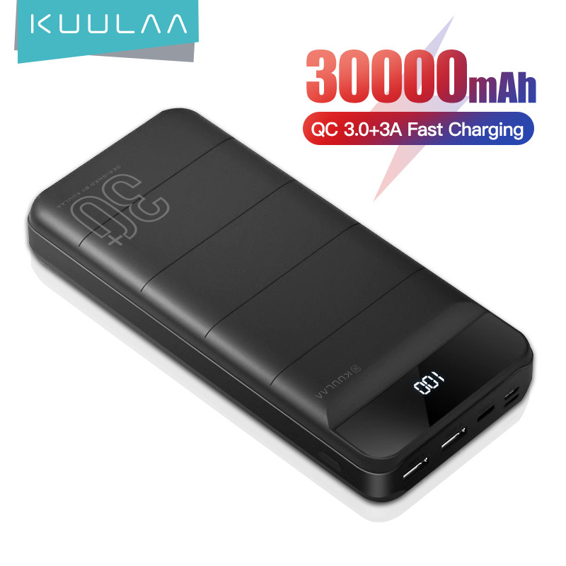 KUULAA Power Bank 30000mAh QC PD 3.0 PoverBank Fast Charging PowerBank 30000 mAh USB External Battery Charger For Xiaomi Mi 10 9