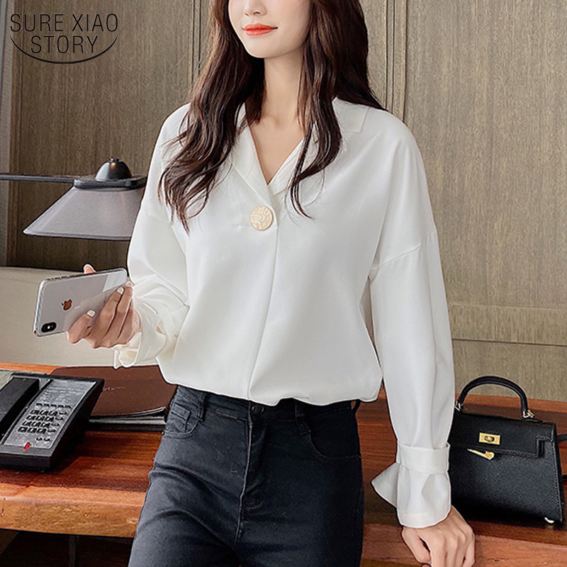 Autumn New Office Lady Style Women' Shirts White Sweet Long Sleeve Chiffon Blouse Blusas Mujer Korean Vintage Top Female <font><b>10697</b></font> image