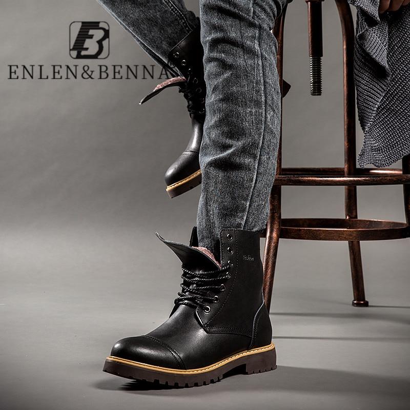 Size 38-46 Motorcycle Boots Men Winter Sheos Genuine Leather Men Military Boots Warm Fur Winter Boots Male Black Men Footwear