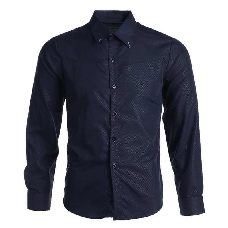 Oeak mens 패션 긴 소매 셔츠 2019 새로운 격자 무늬 솔리드 컬러 버튼 탑 남성 슬림 피트 비즈니스 캐주얼 소프트 통기성 셔츠