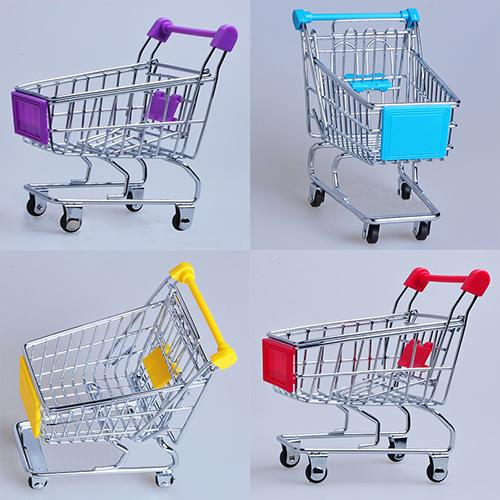 Supermarket Hand Trolley Mini Shopping Cart Desktop Decoration Storage Toy Gift Shopping Cart Storage Trolley Toy For Children