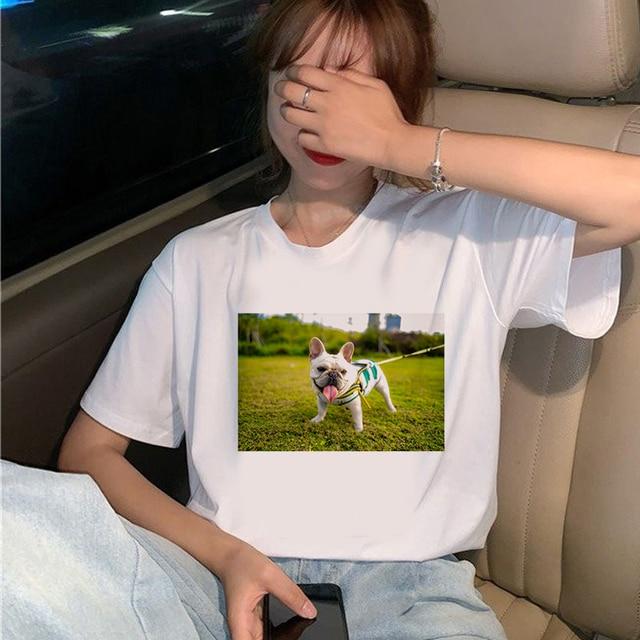 Купить женские милые футболки с собаками летние модные женские топы