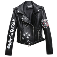 Rivet Faux Leather Jacket Rock Punk Women Moto Coat Black Cheetah Jacket Zipper Streetwear chaqueta mujer chaqueta charreteras