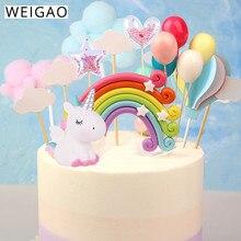 WEIGAO Rainbow Cake Toppers Unicorn Cloud Egg Balloon Cake Flags Decor Kids Birthday Party Cupcake Topper Wedding Unicorn Party