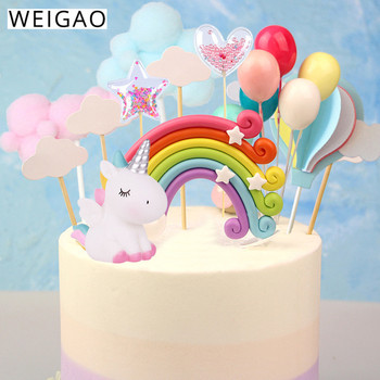 WEIGAO Rainbow Cake Toppers Unicorn Cloud Egg Balloon Flags Decor Kids Birthday Party Cupcake Topper Wedding