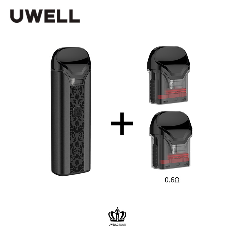 UWELL Crown Pod System and 1 Pack 3ml capacity 0.6/1.0 ohm Crown Refillable Pod  Vape Pod