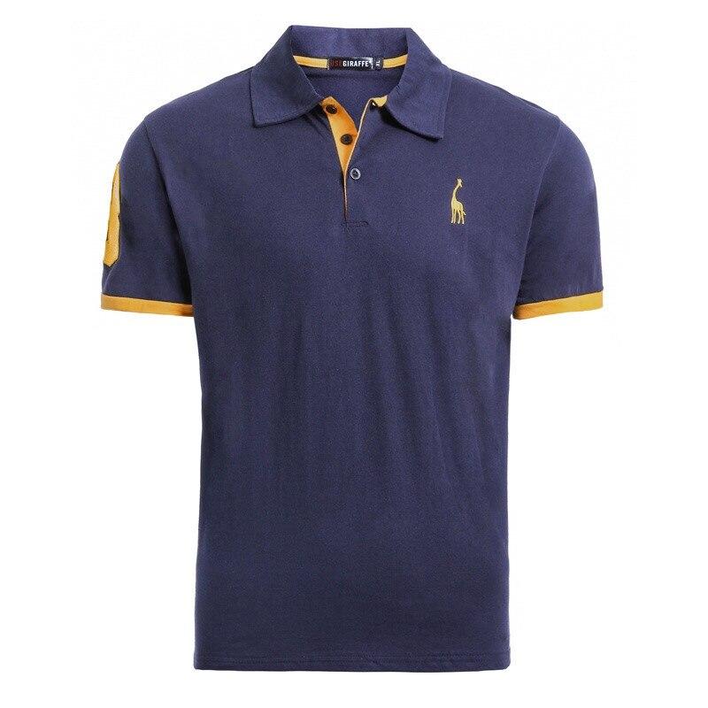 Dropshipping 16 Colors 100% Cotton PoloGiraffe   T     Shirt   Men Deer Embroidery Short Sleeve   T  -  Shirts   Casual Mens   T  -  Shirt