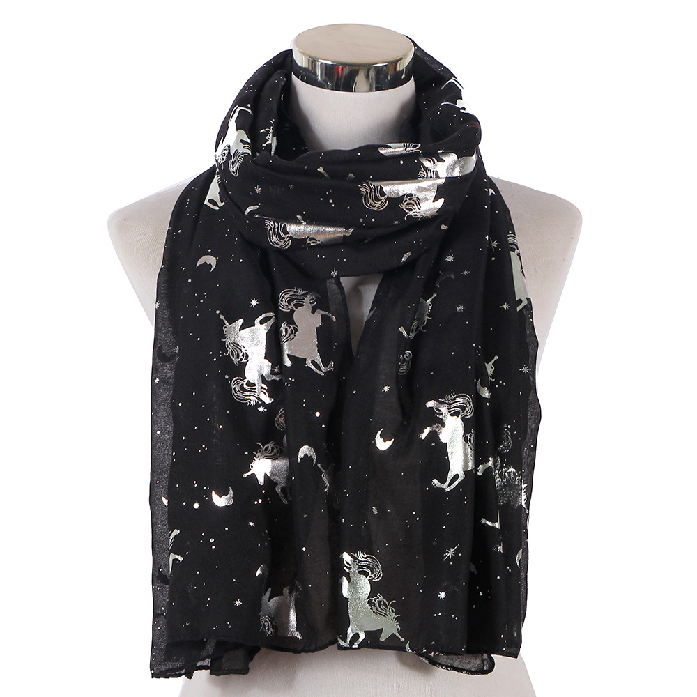 2019 Black Navy Shiny Foil Sliver Star Moon Horse Scarfs Foulard Shawls Glitter Unicorn Scarves Women Female Luxury Brand