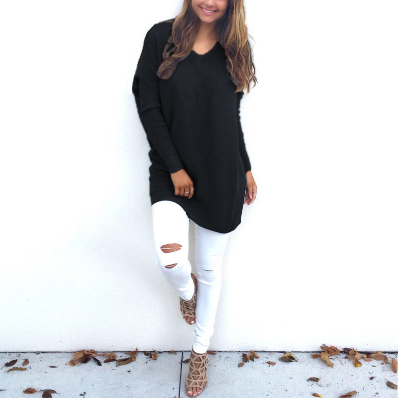 Casual Loose Women Sweater Solid Color V-Neck Knitwear Tops Female Long Sleeves Knitted Long Sweaters Pullover Winter Autumn