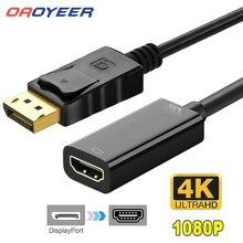 1080p 4k dp para hdmi-adaptador compatível displayport para exibir porto macho para fêmea conversor adaptador de cabo para hdtvpc dell portátil