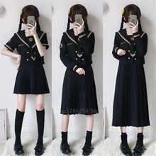 Japanese School Uniform Sailor Shirt Skirt Set Bad Girl Doll Black Gothic Solid Color Pleated JK Suit High School Student Outfit