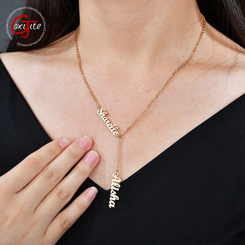 Goxijite Mode 2 Benutzerdefinierte Edelstahl Namen Einstellbare Halskette Für frauen Personalisierte 2 Brief Gold Halskette Anhänger Geschenk