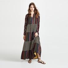 Cotton Linen Bohemian Maternity Clothes Autumn Dress Casual Loose Long Sleeve Floral Comfortable Sundress