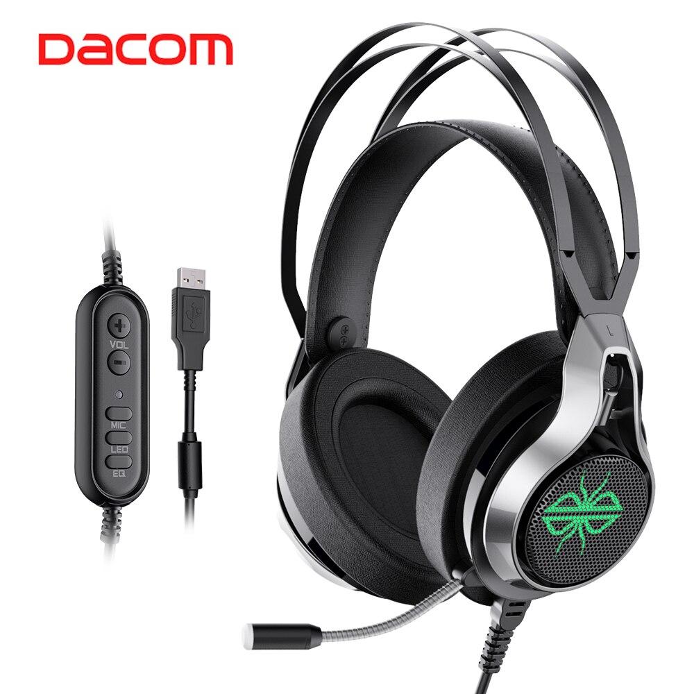 Dacom GH05 7,1 стерео светодиодный геймер наушники USB Проводная игровая гарнитура с микрофоном HD объемный звук Игровые наушники для ПК PUBG CSGO