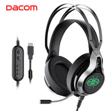 цена на Dacom GH05 Laptop PC Wired Gaming Headphones Headset Gamer Over Ear Headphone 7.1 Surround Sound with Light Mic USB Interface