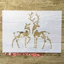 A4 29 * 21cm Sika Deer DIY Stencils Wall Painting Scrapbook Coloring Embossing Album Decorative Paper Card Template